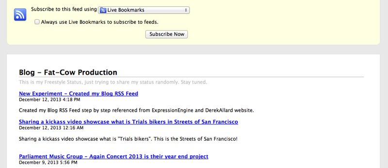 picture of New Experiment - Created my Blog RSS Feed